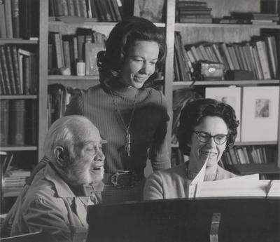 Rehearsal at Boot Hill Farm; Left to Right: John Jacob Niles, Jacqueline Roberts, and Nancie Field; Tony Leonard