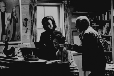 Rehearsal at Boot Hill Farm; Left to Right: Jacqueline Roberts, John Jacob Niles, and Nancie Fields; Kerby Smith