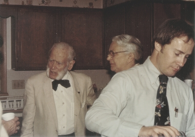 Post-concert party; John Jacob Niles, Rena Niles and others; Lima, Ohio