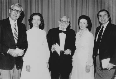 Performance at the University of Missouri; Kansas City. Jacqueline Roberts, John Jacob Niles, and Nancie Fields with two unidentified men