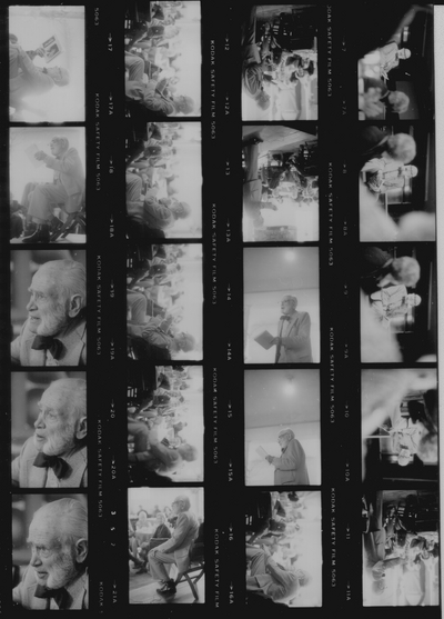 Contact sheet: Concert and poetry reading at last birthday concert performed; Westerley, Rhode Island; Robert Izzo