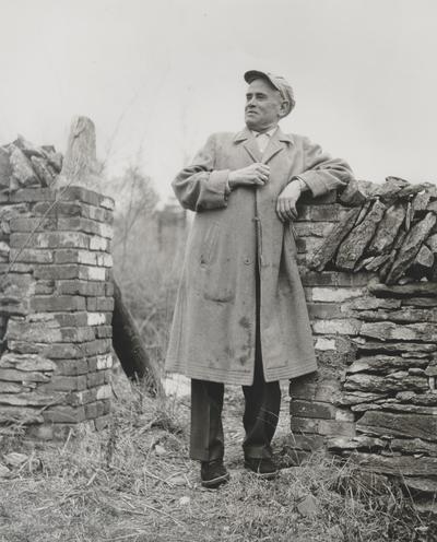 John Jacob Niles outdoors at Boot Hill Farm; Lucie Becker, Louisville Courier-Journal