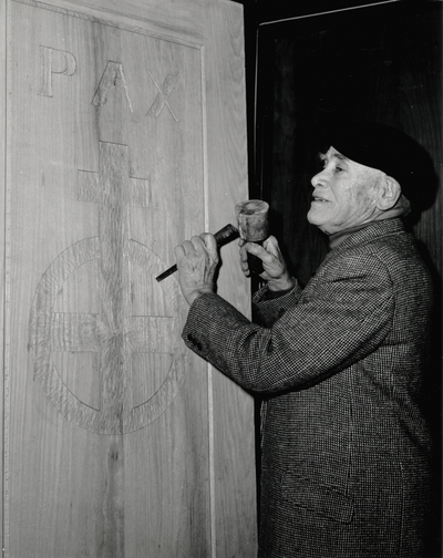 John Jacob Niles carving the doors for St. Hubert's Church; Boot Hill Farm; Jack Cobb