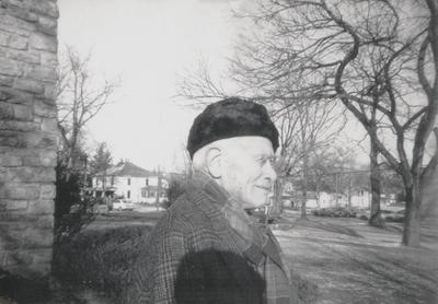 John Jacob Niles while at Baker University as an inter-term lecturer; Baldwin City, Kansas