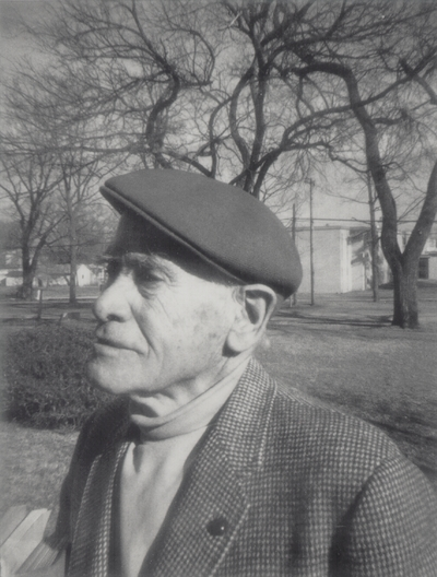 John Jacob Niles while at Baker University as an inter-term lecturer; Baldwin City, Kansas