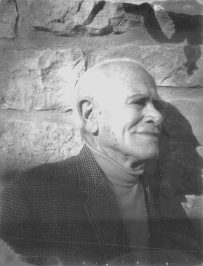 John Jacob Niles while at Baker University as an inter-term lecturer; Baldwin, Kansas