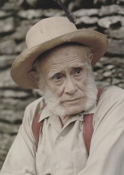 John Jacob Niles outdoors; Boot Hill Farm