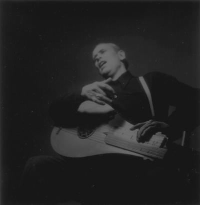 John Jacob Niles posed with dulcimer