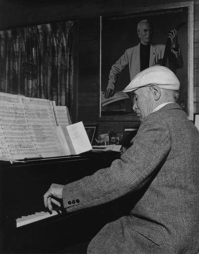 John Jacob Niles posed at piano; Boot Hill Farm; Jack Cobb