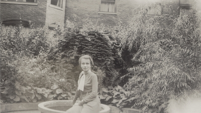 Snapshots of Rena Lipetz Niles; seated at parent's home in Saratoga Springs