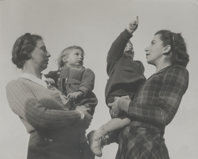 Lady Gwennifer Blennerhassett and son Adrian with Rena and Tom Niles (left to right); Lady Blennerhassett resided in U.S. during World War II.  Her husband, a friend of John Jacob Niles, died at Dunkirk
