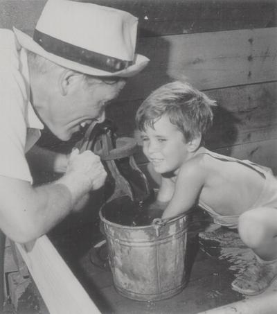 John Jacob Niles with son Tom; Boot Hill Farm