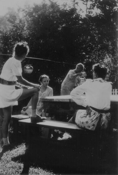 Children's party at Boot Hill Farm, John Jacob and John Ed Niles
