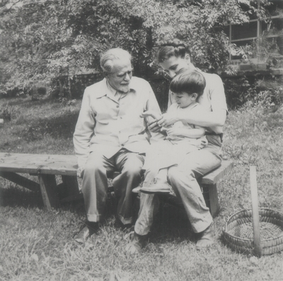 John Ed and Rena Niles with her father, Alphonse Lipetz; Boot Hill Farm