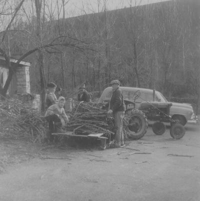 Hauling wood at Boot Hill Farm; Left to right: Robert Hicks, John Ed, Tom, and John Jacob Niles