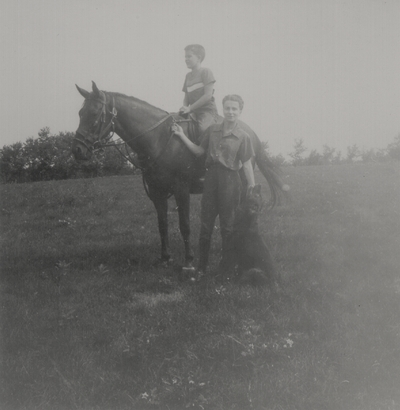 Rena Niles and Tom Niles on horse Radiator; Boot Hill Farm