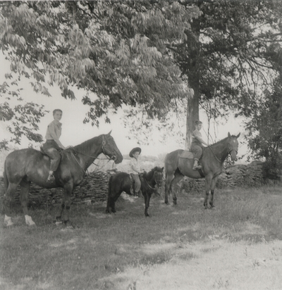 On horseback at Boot Hill Farm; Left to right: Rena, John Ed, and Tom Niles