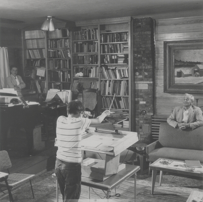 John Ed Niles conducting at home for his parents; Boot Hill Farm