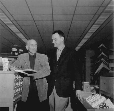 John Jacob Niles and unidentified man at Cumberland College Library, Cumberland, KY