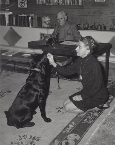 John Jacob Niles, Rena Niles and dog at Boot Hill Farm; Jack Cobb