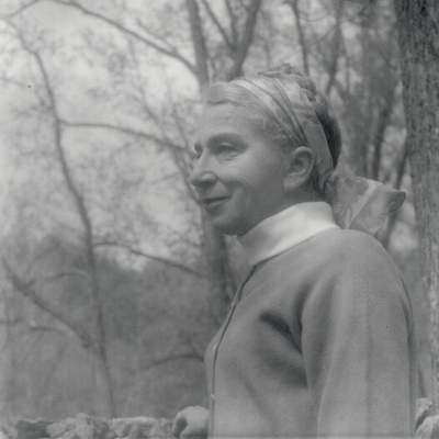 Rena Niles, taken outside at Boot Hill Farm; John Jacob Niles