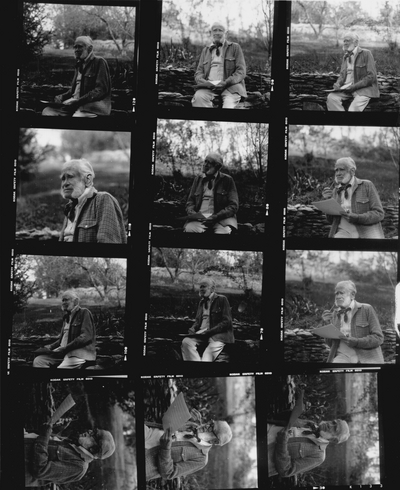 Contact Print: Various photos with John Jacob Niles and Rena Niles and unidentified persons, Boot Hill Farm; Tony Leonard