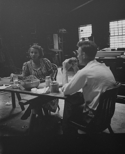 Rena Niles and Harry Mefford having lunch: Dulcimers at various stages of production; John Jacob Niles