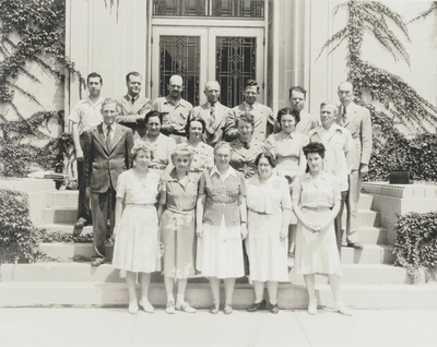 Faculty of Folklore Institute, Indiana University, Dr. Stith Thompson (top row), John Jacob Niles (second row, far right)
