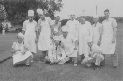Labor Day Breakfast at the Polo Club, John Jacob Niles (far left) with other members
