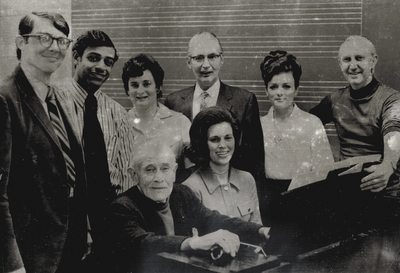 John Jacob Niles with the Lexington Singers; John Jacob Niles and Janelle Pope (seated), Donald Ivey (far right)