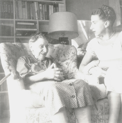 Miss Henrietta Child, daughter of Francis J. Child, seated, with Rena and John Jacob Niles; taken at home of Eleanor Churchill; Berea, KY