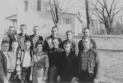John Jacob Niles with students from Flemingsburg, KY; Boot Hill Farm; Jack Cobb