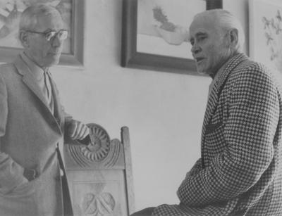 Raymond Barnhart, left, with John Jacob Niles; Boot Hill Farm
