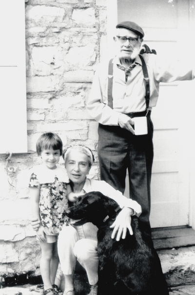 Left to right: Michelle Myers, Rena and John Jacob Niles with family dog; Boot Hill Farm