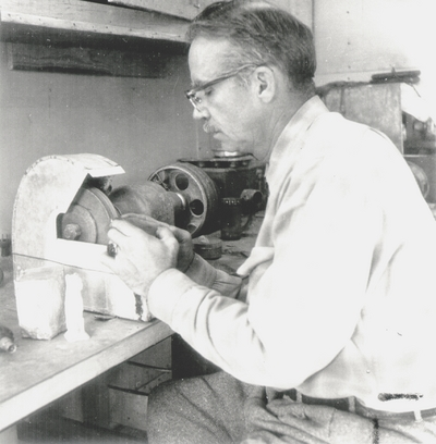 Frank Long in his studio (lapidary) in Berea, KY; Louisville Courier-Journal Magazine