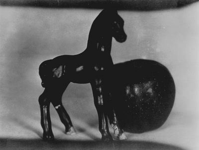 Plaster horse and apple; John Jacob Niles