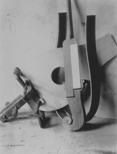 Dulcimers at various stages of production; John Jacob Niles