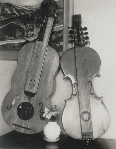 Dulcimers at various stages of construction, some taken in shop of UK Buildings & Grounds Department; John Jacob Niles