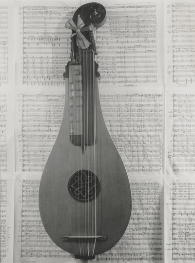 Dulcimer with SATB score as background at Boot Hill Farm; Van Coke