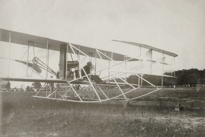 Orville Wright in aeroplane ready to fly at public demonstration; Fort Meyer; Washington, D.C.; Paul Thompson