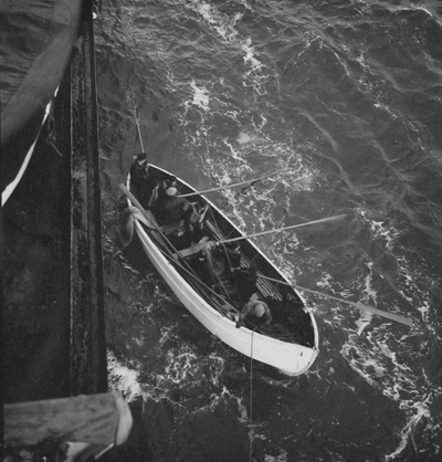 Lifeboat drill onboard ship during Niles' ocean voyage to Finland