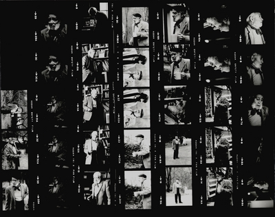 Four photo contact sheet of black and white negatives; John Jacob Niles in various poses; Boot Hill Farm