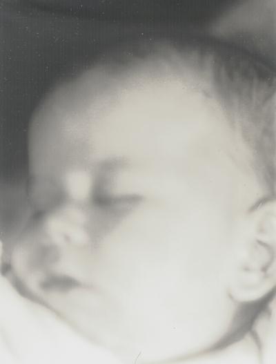 Close-up of John Ed Niles, taken in bedroom; Boot Hill Farm; John Jacob Niles