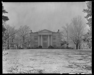 Elmendorf; columns of Haggin Mansion; front exterior