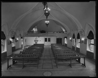 Interior of a small church; no one present
