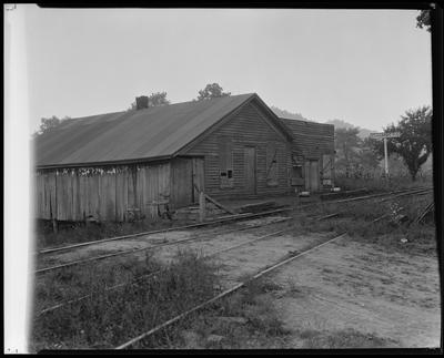 Dilapidated building at track side                             (