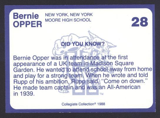 Kentucky's Finest #28: Bernie Opper (1936-39), back
