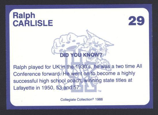 Kentucky's Finest #29: Ralph Carlisle (1934-37), back