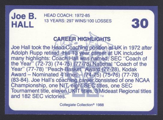 Kentucky's Finest #30: Joe B. Hall (1973-85), back