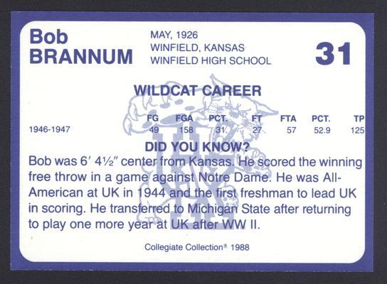 Kentucky's Finest #31: Bob Brannum (1943-44; 1946-47), back
